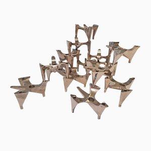 Deutsche Space Age Kerzenhalter aus Metall von Hammonia Motard, 14er Set