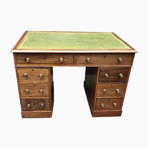 Small Antique Leather & Mahogany Pedestal Desk