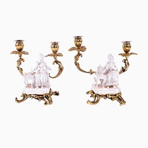Antique French Bisque Porcelain Candleholders, Set of 2