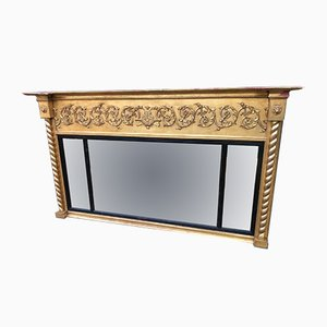 Antique Triptych Overmantel Mirror