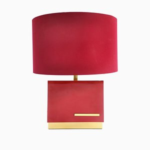 Red Lacquered Table Lamp by Jean Claude Mahey, 1970s
