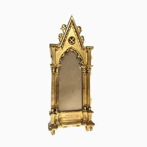 Small Antique Gothic Tabernacle Mirror
