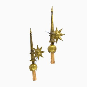 Mid-Century French Gilded Iron Sconces by Gilbert Poillerat, 1946, Set of 2