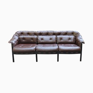 Mahogany and Leather 3-Seater Sofa, 1960s