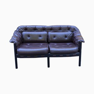 Mid-Century Leather 2-Seater Sofa by Arne Norell for Coja, 1960s