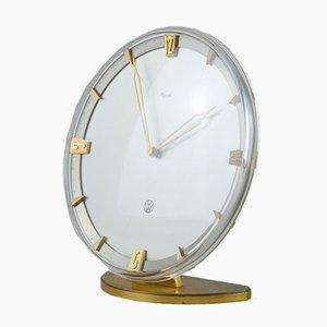 Mid-Century Modernist German Brass Table Clock from Kienzle, 1960s