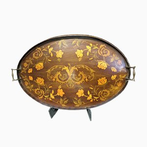 Bandeja eduardiana antigua de marquetería de caoba