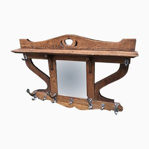 Antique Arts and Crafts Oak Coat Rack