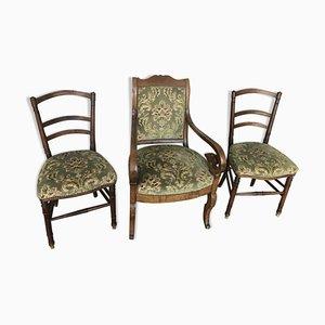 Juego de butaca y dos sillas antiguo