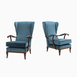 Velvet and Walnut Armchairs by Paolo Buffa, 1940s, Set of 2