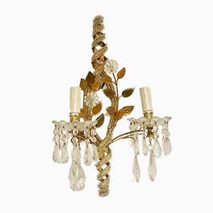 Italian Murano Glass and Lead Crystal Sconce, 1930s