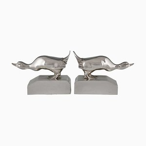 Art Deco Silvered Bronze Bookends by G.H. Laurent for Les Neveux de Lehmann, 1920s