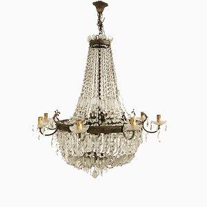 Lámpara de araña italiana Art Déco vintage de vidrio de plomo, años 30