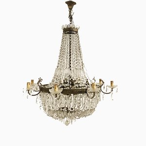 Vintage Art Deco Italian Lead Crystal Chandelier, 1930s