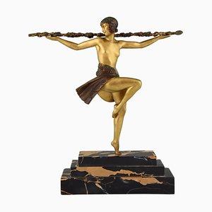 Art Deco Skulptur aus Bronze und Marmor in Tänzer-Optik von Pierre Le Faguays für Etling, 1930er