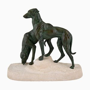 Art Deco Metal & Stone Greyhound Sculpture by Jules Edmond Masson for Max Le Verrier, 1930s