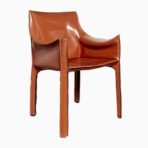 Italian Leather CAB 413 Chairs by Mario Bellini for Cassina, 1977, Set of 5