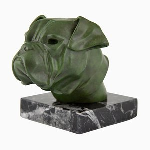 Art Deco Metal & Marble Bulldog Paperweight by Max Le Verrier for Max Le Verrier, 1930s
