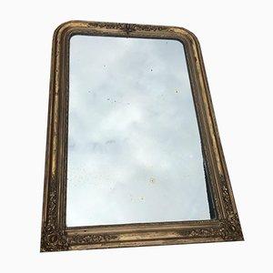 Antiker französischer Spiegel mit goldenem Stuck & Holzrahmen, 1890er
