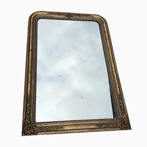 Antique French Golden Stucco & Wood Mirror, 1890s