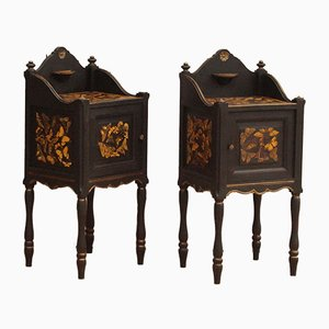 Antique French Wooden Nightstands, Set of 2
