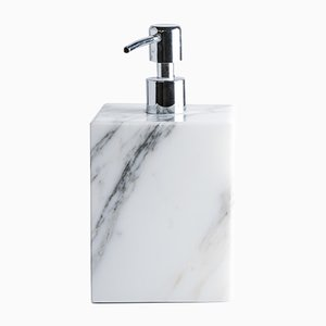 White Carrara Marble Squared Soap Dispenser from FiammettaV Home Collection, 2019