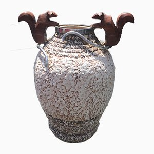 Art Deco French Bronze and Ceramic Vase by André Villien, 1930s