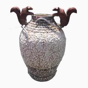 Jarrón francés Art Déco de bronce y cerámica de André Villien, años 30