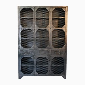 Industrial Steel Mesh Cabinet, 1940s