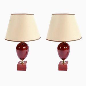 Französische rot lackierte Tischlampen von Philippe Barbier, 1970er, 2er Set