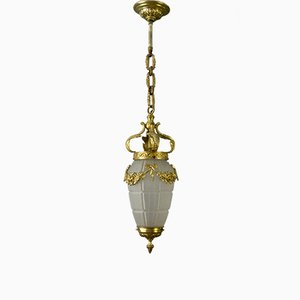 Louis XVI Style French Bronze and Frosted Glass Ceiling Lamp, 1930s