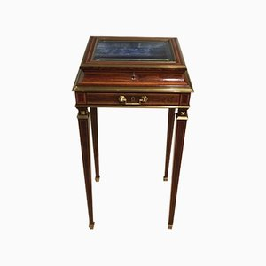 Antique French Brass and Rosewood Mounted Jewellery Cabinet