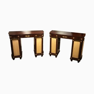 Antique Regency French Brass and Rosewood Side Cabinets, Set of 2