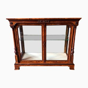 Antique Victorian Burr Walnut Two Door Display Cabinet from Holland & Sons