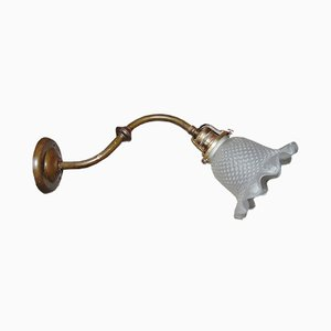 Antike deutsche Jugendstil Wandlampe aus Messing