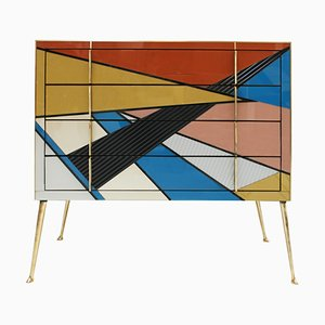 Comò in ottone e vetro di Murano di L.A. Studio, Italia, anni '50