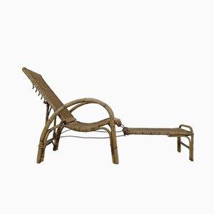 Chaise Longue de Jardin en Rotin et Bambou par Erich Dieckmann, 1930s