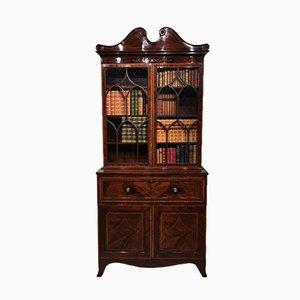 Antikes edwardianisches Bücherregal aus Mahagoni mit Intarsien, 1900er