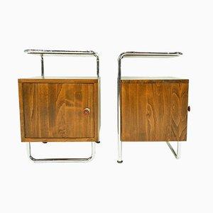 Mesitas de noche Bauhaus de madera de Kovona, años 30. Juego de 2