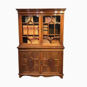 Bibliothèque Édouardienne Antique en Noyer de Maple & Co