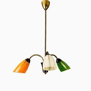 Lámpara de araña Mid-Century tricolor de baquelita y latón, años 50