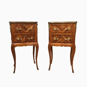 Antique French Kingwood & Parquetry Bedside Cabinets, Set of 2