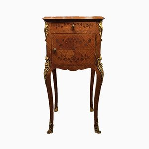 Antique French Kingwood & Marquetry Inlaid Bedside Cabinet