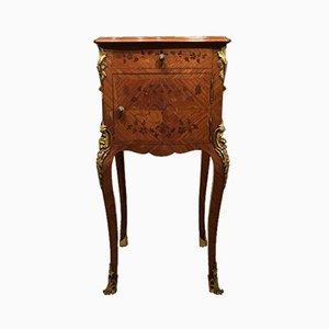 Mesita de noche francesa antigua de madera real con incrustaciones de marquetería
