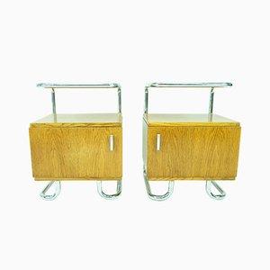 Tables de Chevet Bauhaus en Bois par Gottwald pour Hynek Gottwald, 1930s, Set de 2
