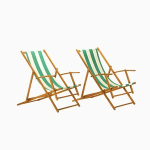 French Cotton & Plywood Adjustable Folding Deck Chairs, 1940s, Set of 2