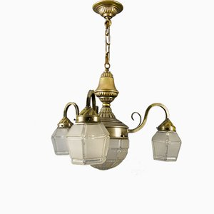 Art Deco French Brass & Frosted Glass 4-Light Chandelier, 1920s