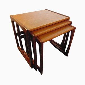 Teak and Afromosia Quadrille Nesting Tables by R. Bennett for G-Plan, 1960s