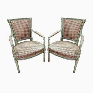 Französische Vintage Sessel aus Holz, 1920er, 2er Set