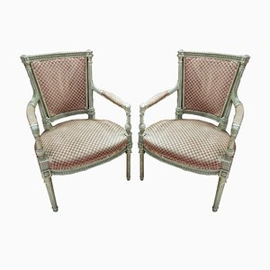 Vintage French Wood Armchairs, 1920s, Set of 2
